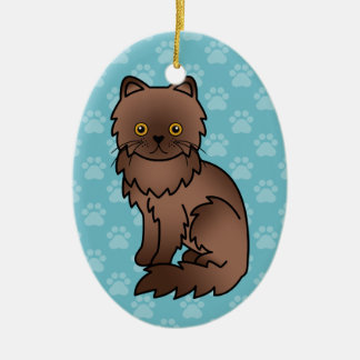 Chocolate With Orange Eyes Persian Cat Ceramic Ornament