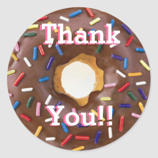 Chocolate with Sprinkles Donut  Birthday Thank You Classic Round Sticker
