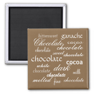 Chocolate Word Collage 2 Inch Square Magnet
