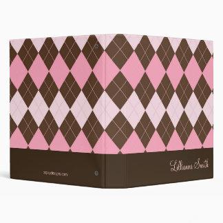 Chocolate y carpeta personalizada Argyle rosada de