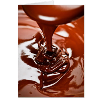 Chocolate y cuchara derretidos tarjeta pequeña