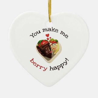 Chocolate y fresas que casan el ornamento de la of adornos de navidad