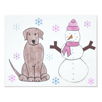 """Chocolate y muñeco de nieve del labrador retriever invitación 4.25"""" x 5.5"""""""