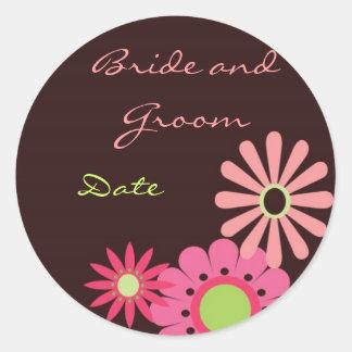 Chocolate y pegatina rosado del boda
