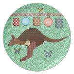 Chocolate y placa rosada del verde del Wallaby Plato De Cena