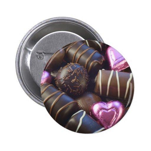 chocolates con la hoja rosada pin redondo 5 cm