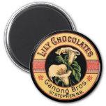 Chocolates del lirio imán para frigorifico