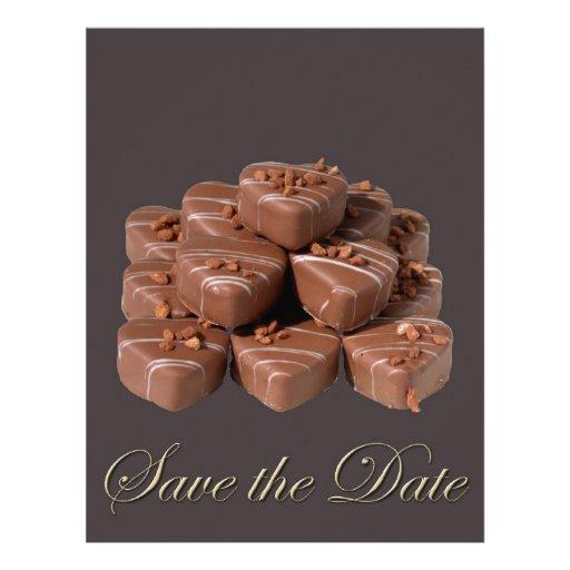 Chocolates en forma de corazón plantillas de membrete