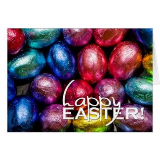 Chocolates felices de la hoja de Pascua Felicitacion