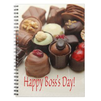 Chocolates felices del día de Boss Libretas Espirales