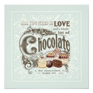 chocolates modernos del francés del vintage invitacion personal