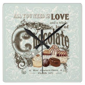 chocolates modernos del francés del vintage reloj cuadrado