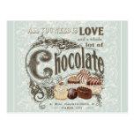 chocolates modernos del francés del vintage tarjeta postal