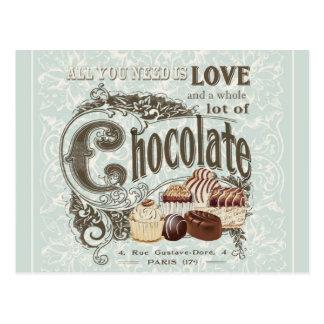 chocolates modernos del francés del vintage postal