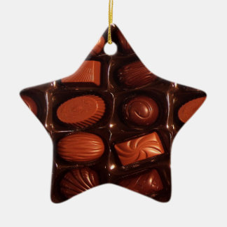 Chocolates Double-Sided Star Ceramic Christmas Ornament