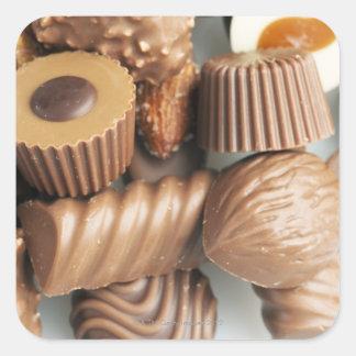 chocolates pegatina cuadrada