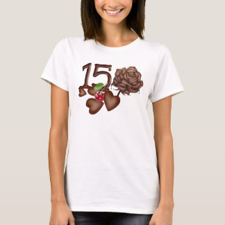 Chocolates rose and number 15 birthday t-shirts