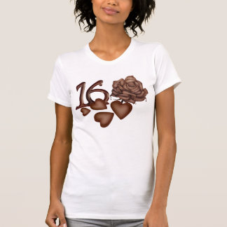 Chocolates rose and number 16 birthday t-shirts
