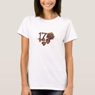 Chocolates rose and number 17 birthday t-shirts