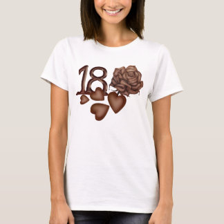 Chocolates rose and number 18 birthday t-shirts