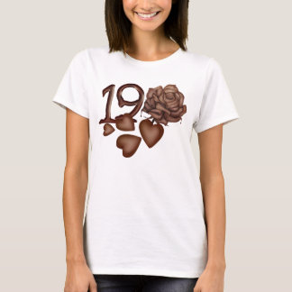 Chocolates rose and number 19 birthday t-shirts