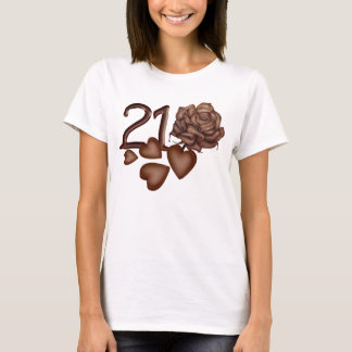 Chocolates rose and number 21 birthday t-shirts