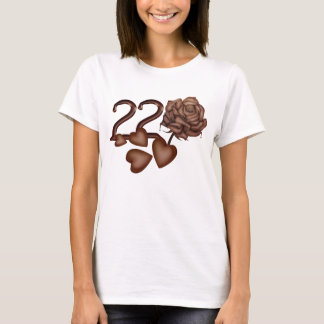 Chocolates rose and number 22 birthday t-shirts