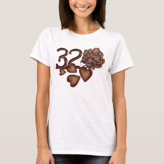 Chocolates rose and number 32 birthday t-shirts