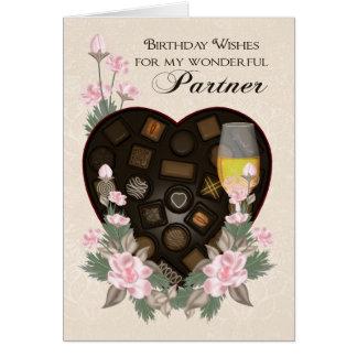 Chocolates vino del socio y tarjeta de cumpleaños