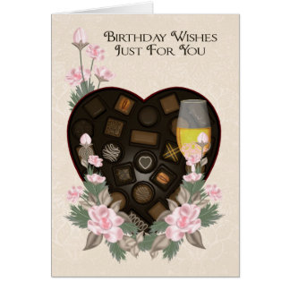 Chocolates Wine And Flower Birthday Greeting Card