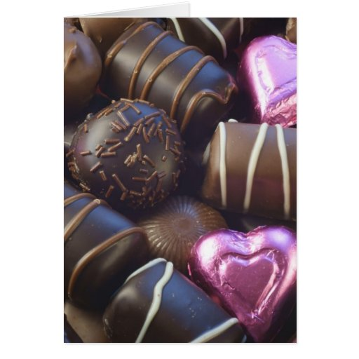 chocolates with pink foil greeting card