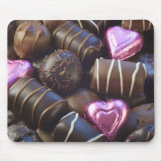 chocolates with pink foil mouse pad