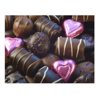 chocolates with pink foil postcard