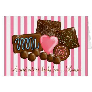 ChocolatesThank dulce usted tarjetas de nota