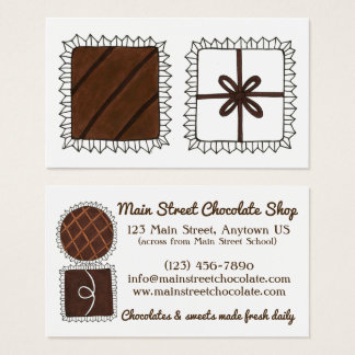 Chocolatier Chocolate Shop Candy Store Bon Bons Business Card