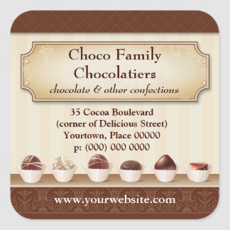 Chocolatier Display Counter Promotional Square Sticker
