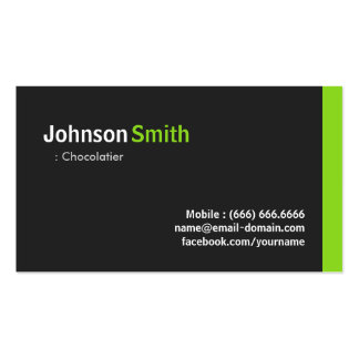 Chocolatier - Modern Minimalist Green Double-Sided Standard Business Cards (Pack Of 100)
