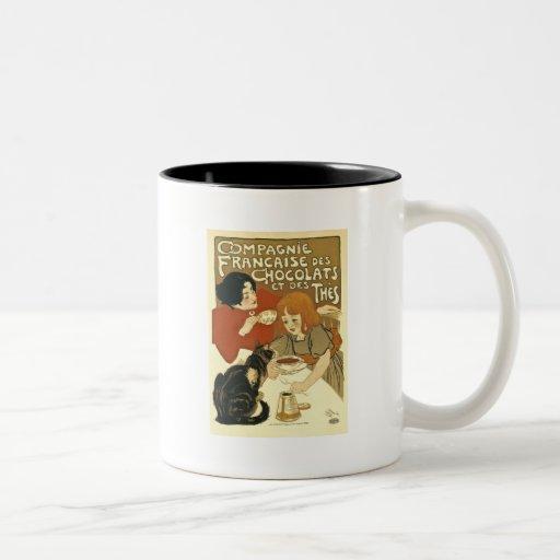 Chocolats - anuncio del francés del vintage taza de dos tonos
