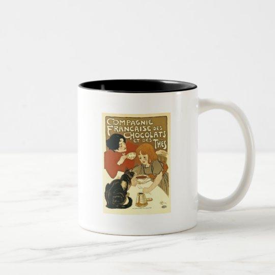 Chocolats - Vintage French Ad Two-Tone Coffee Mug