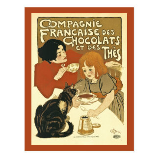 Chocolats Vintage French Ad with Girl and Cat Postcard