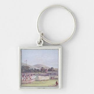 Choctaw Ball-Play Dance, 1834-35 Silver-Colored Square Keychain
