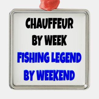 Chófer de la leyenda de la pesca adorno navideño cuadrado de metal