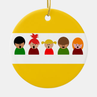 choir-310673  choir children singing music happy c Double-Sided ceramic round christmas ornament