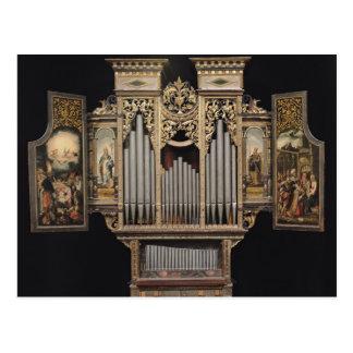 Choir organ with open panels postcard