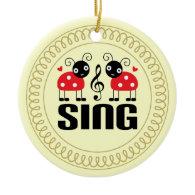 Choir Sing Ladybug Music Ornament Gift