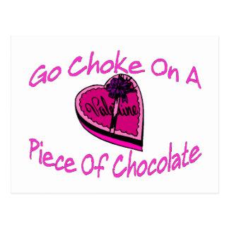 Choke On Chocolate Valentine Postcard