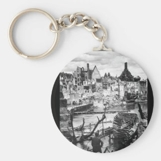 Choked with debris, a bombed water_War Image Keychain