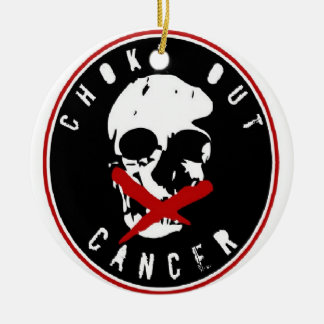 CHOKEOUT CANCER Double-Sided CERAMIC ROUND CHRISTMAS ORNAMENT