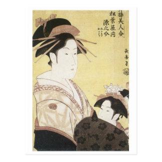 Choki Courtesan Somensosuke With Apprentice Postcard