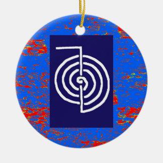 CHOKUREI  Reiki Basic Healing Symbol TEMPLATE gift Double-Sided Ceramic Round Christmas Ornament